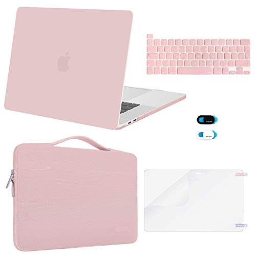 MOSISO MacBook Pro 16 inch Case 2020 2019 Release A2141, Plastic Hard Shell Case&Sleeve Bag&Keyboard Cover&Webcam Cover &Screen Protector Compatible with MacBook Pro 16 inch with Touch Bar,Rose Quartz