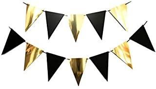 Bobee Black and Gold Banner Party Decoration 9 feet, 12 flags (DIY string to the length needed)