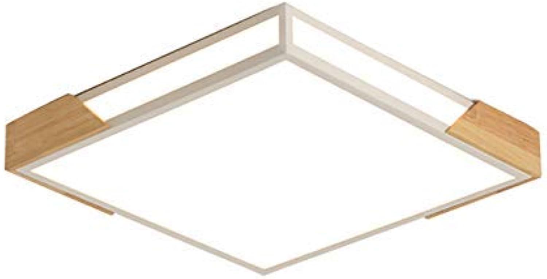 Oevina Mode Quadratische Acryl-Deckenleuchte, LED 32W ultradünne, ebenerdige Holz-Deckenleuchte für Wohnzimmerflur-Deckenleuchte (Farbe   Trichromatic Dimming, gre   30x6cm)