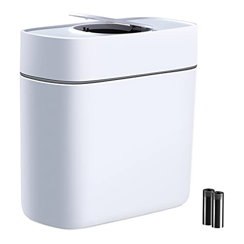 JOYBOS Bathroom Trash Can with Lids | Dogproof Wastebasket with Press Type Lid | 14L Slim Plastic Narrow Kitchen Garbage Can | 3.7 Gallon Garbage Container Bin for Home Kitchen and Office