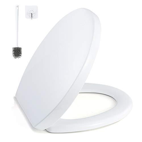 GAVAER Copriwater,Sedile WC Universale con Chiusura Ammortizzata,Materiale Antibatterico in PP,bianco, Facile da Smontare,Facile da Ulire(Forma O)Tavoletta WC