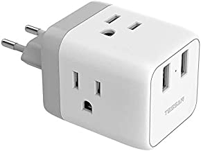 US to Europe Adapter, European Plug Travel Adapter, TESSAN Wall Power Adapter with 2 USB Charging Ports, Outlet Adaptor for USA to Most of Europe France Germany Italy Greece Spain Iceland - Type C