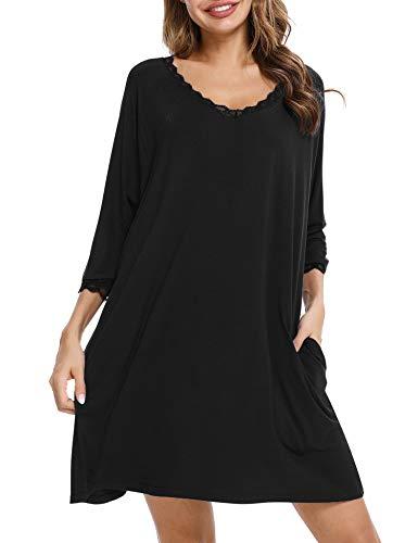 Aibrou Nachthemd Damen Baumwolle Nachtkleid mit Spitze Trim V-Ausschnitt Lässige Nachtwäsche Sleepwear Stillnachthemd Schwangerschaft Kleid