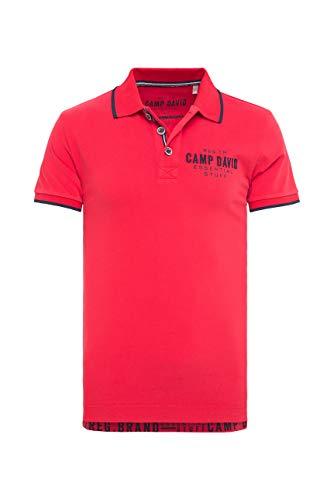 Camp David Herren Poloshirt aus Jersey mit kleinem Artwork, Royal Red, 3XL