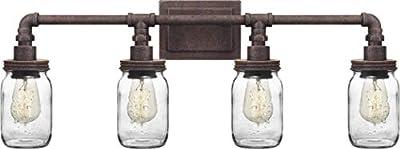 "Quoizel SQR8604RK Squire Bath Vanity Wall Lighting, 4-Light, 400 Watts, Rustic Black (11""H x 31""W)"