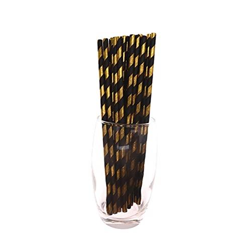 Jjwlkeji Vajilla De Fiesta Tazas de Oro Negras, Placas, pajitas, Toallas de Papel, vajilla de Alto Grado, adecuadas para Ocasiones solemnes, Fiestas (Color : 25pc Straw)