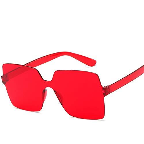 YTYASO Gafas de Sol sin Montura para Damas Gafas Transparentes Hombres Mujeres Gafas Rojo Amarillo Marrón Cuadrado Redondo