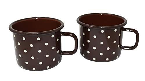 2 tazas de metal esmaltado marrón chocolate con lunares – 500 ml