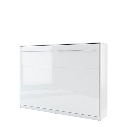 Schrankbett Concept Pro II Horizontal, Wandklappbett inkl. Lattenrost, Bettschrank, Wandbett, Schrank mit integriertem Klappbett, Funktionsbett, Farbauswahl, (140x200 cm, Weiß / Weiß Hochglanz)