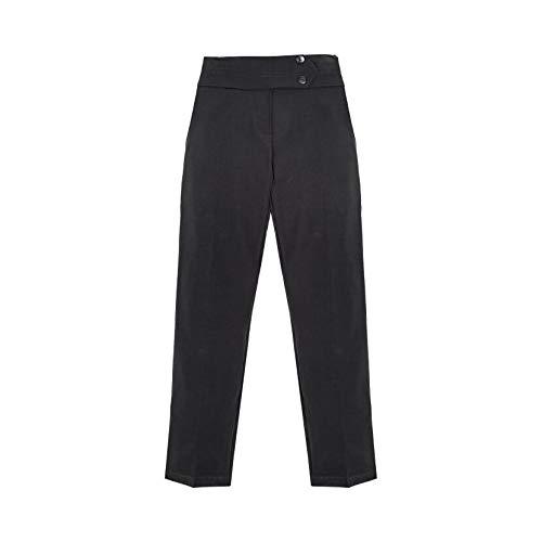 janisramone Pantalones escolares para niñas lisos, ajustados, bolsillos delanteros, uniformes, pantalones casuales de 2 a 16 años