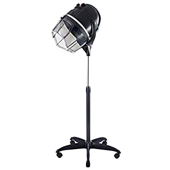 Professional Adjustable Hooded Stand-Up Hair Bonnet Dryer with Timer Swivel Caster Rolling Base for Beauty Salon or Home Use