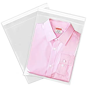 """Spartan Industrial - 9"""" X 12"""" (100 Count) Crystal Clear Resealable Polypropylene Poly Bags for Packaging, Clothing & T Shirts - Self Seal & Reinforced"""
