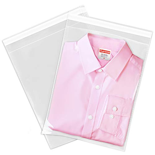 Spartan Industrial || 100 Count - 9 X 12 Self Seal Clear Cello Cellophane Resealable Poly Bags for Packaging, Clothing & T Shirts - Reinforced