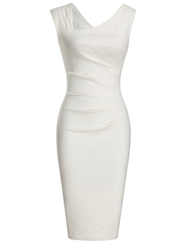 MUXXN Women's Retro 1950s Style Sleeveless Slim Business Pencil Dress (M White)