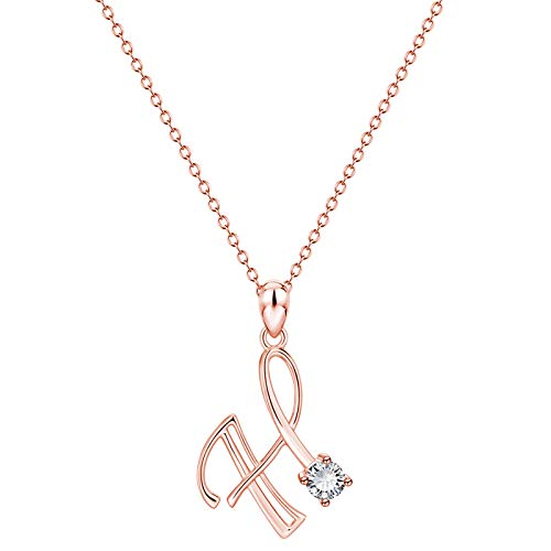 Hins Initial Letter Necklaces, Women's A-Z Letter Necklaces Alloy First Letter Name Chain Pendant Rose Gold Jewelry Personalised Christmas for Ladies Girls
