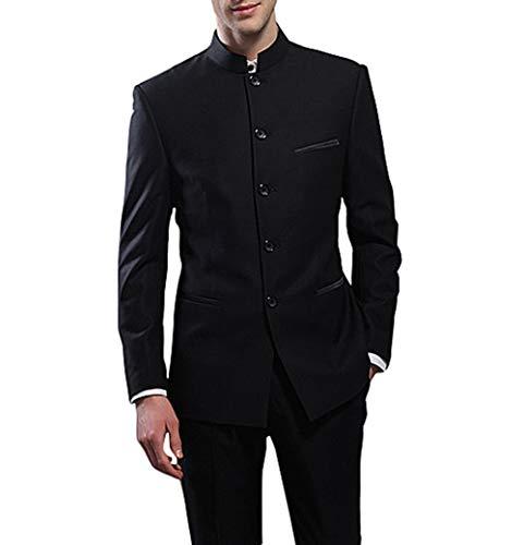 Suit Me Herren 2 Teilige Chinesische Stehkragen Aaum Anzuege Hochzeiten Party Smoking Anzug Sakko,Hose Tuxedos Schwarz XL