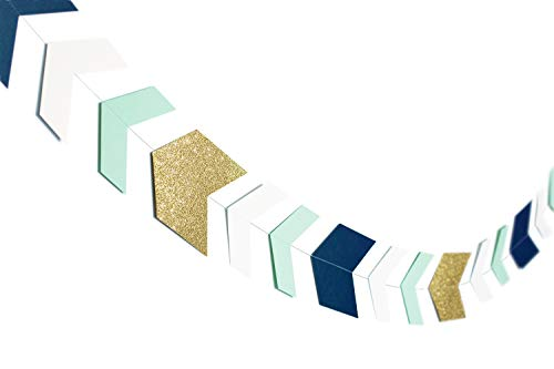 Arrow Paper Garland Decorations Nautical Party Decorations Navy Mint Glitter Gold Tribal Garland Perfect for Boys Party Supplies Nursery Decoration Tribal Boy Birthday Party Office Decorations 33pcs