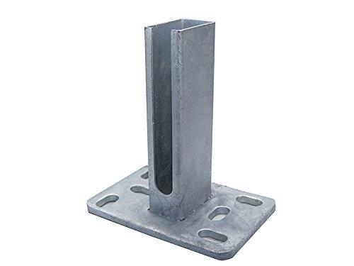 Fußplatte Bodenplatte Aufschraubhülse für Zaunpfosten 60 x 40mm, Gittermatte