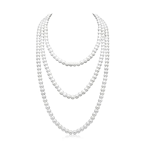 Basrdis Fashion Faux Pearls Necklace 1920s Long Pearl Necklaces for Women, Great Gatsby Party Accessories Vintage Costume Jewelry, Imitation Pearl Flapper Beads Necklace (white)