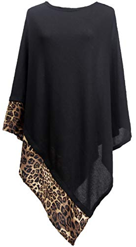 DiaryLook Ladies Cashmere Feel Multiway Poncho Shawl Scarf Wrap with Leopard Print for Women