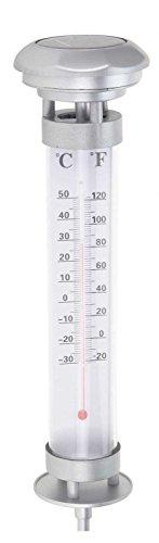 Thermomètre solaire de jardin Grundig lumineux, 1 led blanche, solaire, Hauteur env. 59 cm