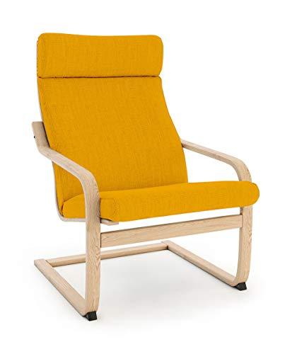 Vinylla - Copripoltrona di ricambio compatibile con IKEA Poäng (cuscino con design 3, poliestere, giallo)