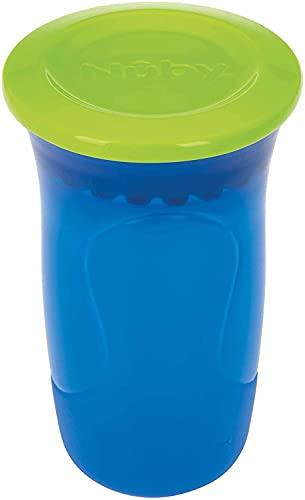 Nuby Tazza Wonder 360° Con Bordo In Silicone - Facile Da Pulire Composta Da Soli Due Pezzi - 6m+, color Blu, One size - 300 ml