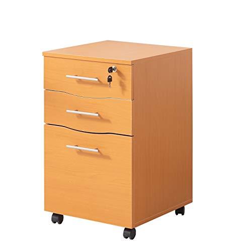 MMT Furniture Designs MMT-IV05Beech Pedestal de 3 cajones para Debajo del Escritorio, Laminado de Madera Fabricado, Haya, Under Desk 🔥