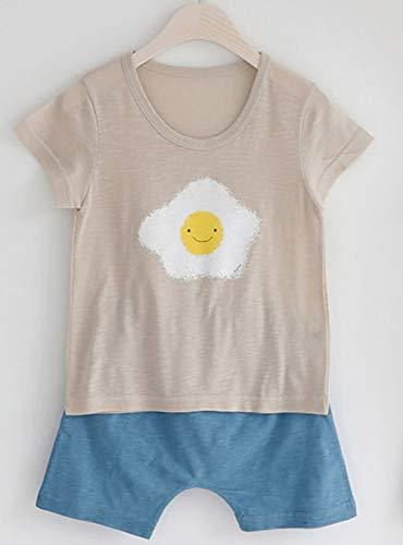 [あるこんたるこん] (TB) ベビー パジャマ 肌着 エッグ Tシャツ 90-140 綿100% 男の子 女の子 春 夏 秋 薄手 キッズ (90cm)