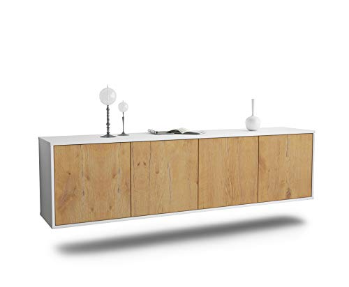 Dekati Lowboard Anaheim hängend (180x49x35cm) Korpus Weiss matt | Front Holz-Design Eiche | Push-to-Open