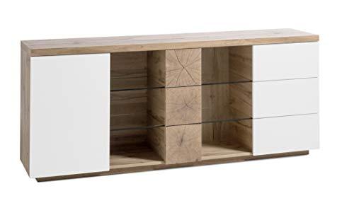 Robas Lund Helsinki Sideboard Kommode, weiß matt/Eiche/Hirnholz, B/H/T ca. 180/75/40 cm