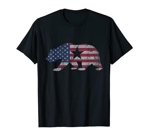 Bandera Americana del Oso de la República de California 4 de julio EE.UU Camiseta