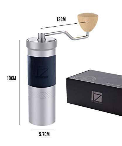 1Zpresso Handmatige Koffie Grinder JX-PRO Serie Licht Grijs 48mm RVS Burr, Fijne Bovenste Aanpassing Moer Ontwerp, Koffiebonen Grond Sneller Slijpen Efficiëntie Espresso grof Franse Press Hand Grinder, Handvat Molen