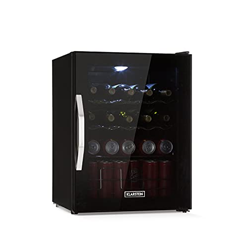 Klarstein Beersafe Onyx - Nevera de bebidas con puerta acristalada, Mininevera, Minibar, Iluminación LED, Baldas metálicas, Acero inoxidable, 42 dB, 47 litros, Negro