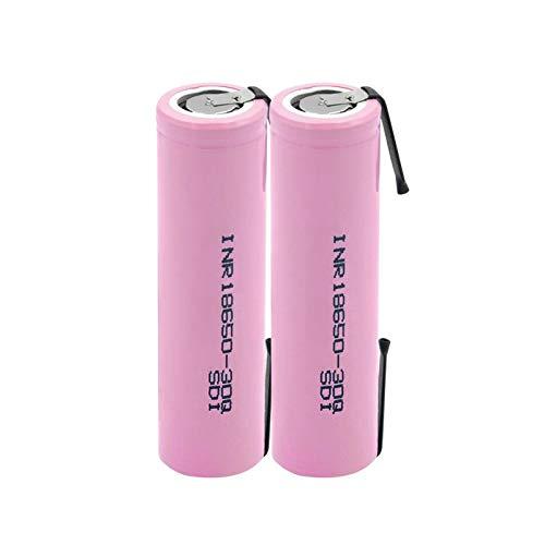 HTRN Batería De Inr18650 30q 3.7v 3000mah, Batería De Placa De níQuel Soldada con AutóGena De La Batería De Litio Recargable Usada para La Linterna 2PCS