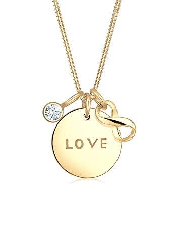 Elli Halskette Damen Infinity Love-Wording Anhänger mit Swarovski® Kristalle in 925 Sterling Silber