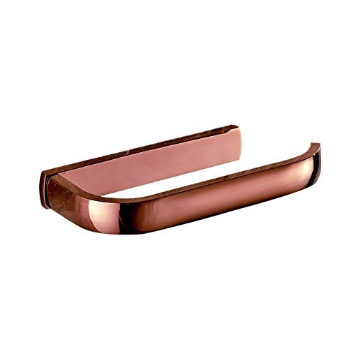 SymArt Caja de Tejido Oro Rosa de latón Macizo Aseo Simple Papel Titular la Pared de Lujo Pulido montado en la Caja del Tejido del Rollo Porta Accesorios de baño para encimeras de vanidad de baño.