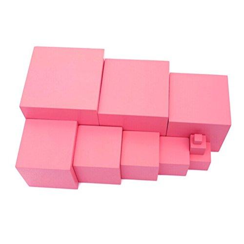 ROSENICE 10pcs Jeu de Construction Blocs Cubes Bois Jouet de Premier Age