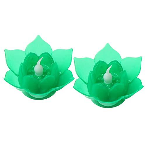 Uonlytech 2 piezas led luces de velas de loto candelitas electrónicas sin llama luces decorativas de noche para bodas decoración de jardín de san valentín de navidad (verde)
