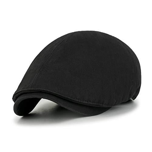 ililily Cotton Washed Flat Cap Cabbie Hat Gatsby Ivy Irish Hunting Newsboy Stretch Fit