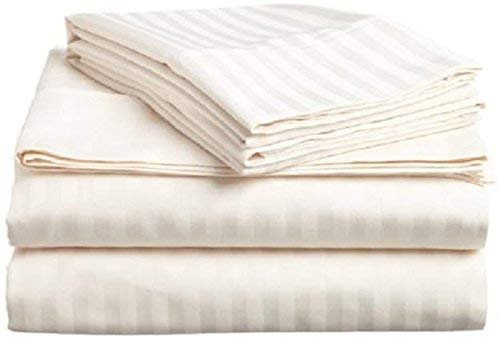 4 PC Sheet Set Cotton, 6' Deep Pocket 400 Thread Count, RV- Trucks, Campers, Airstream, Bus, Boat and motorhomes Easy to fit in RV-Mattress, RV Full 53'X75' Ivory Stripe