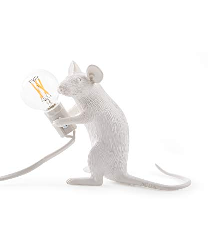 Seletti - Lampe Mouse Assis (Blanc), 18 x 7 x 12,5 cm