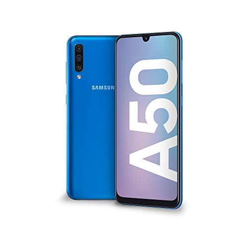 "Samsung Galaxy A50 Smartphone, Display 6.4"" Super AMOLED, 128 GB Espandibili, RAM 4 GB, Batteria 4000 mAh, 4G, Dual Sim, Android 9 Pie,  [Versione Italiana], Blue"