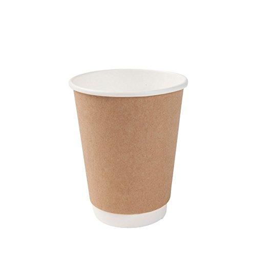 BIOZOYG Karton Doppelwand Kaffee Trinkbecher Einweg Bio I 25 Stück to Go Pappbecher innen weiß, Außenwand braun unbedruckt 300 ml / 12 oz I 100% biologisch abbaubar, Zertifiziert kompostierbar