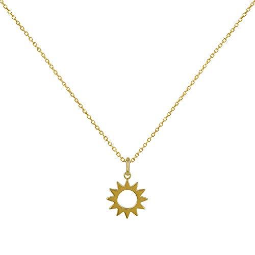 Les Poulettes Bijoux - Collana Placcato Oro Sole Traforato
