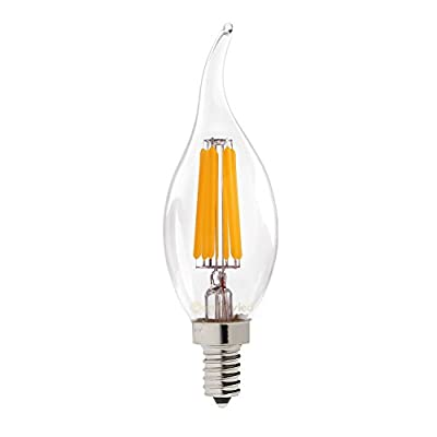 Solray LED 6W Dimmable E12 clear glass Bulbs, 60W Incandescent Equivalent, Candelabra Bulbs, 600lm, 360° Beam Angle, Warm White 2700K, LED Filament flame-tip Chandelier candle bulb UL listed