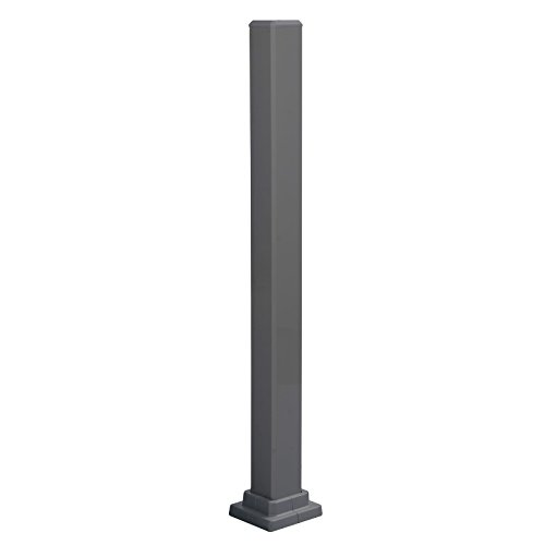 Mounting Post for Promenaid Handrail System, Aluminum, Charcoal Grey, 3'X3' Tube, 5' Square Base Flange, 37' High