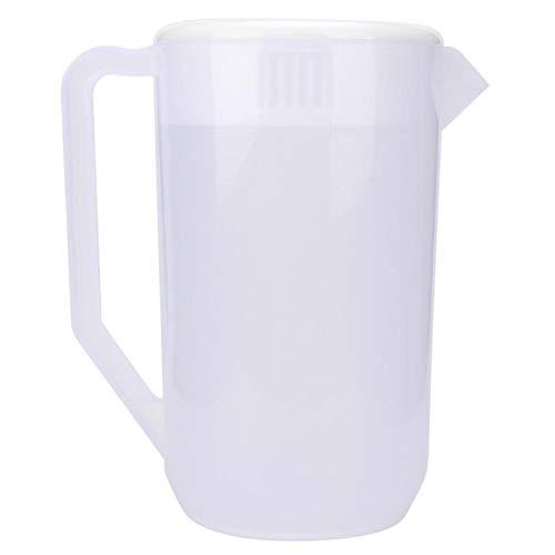 Hervidor de agua fría de plástico, 4000 ml de gran capacidad, reutilizable, no tóxico, hervidor de agua fría, botella de agua, jarra de agua, olla(Cubierta blanca transparente)