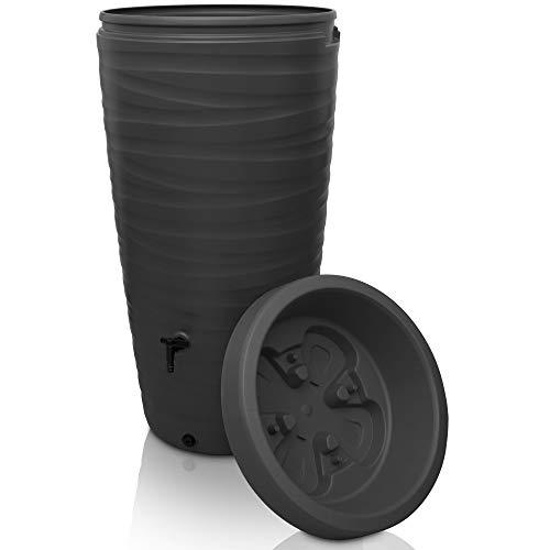 YourCasa Regentonne 240 Liter [Wave Design] Regenfass Frostsicher aus Kunststoff - Regenwassertonne mit Wasserhahn - Regenwassertank Garten (Anthrazit)