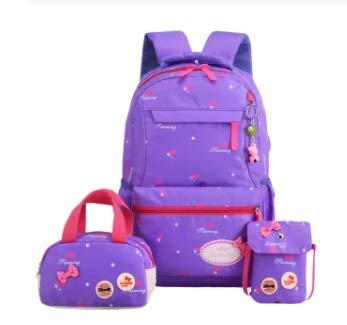 OYPY 3pcs/set Printing School Bags Backpacks Schoolbag Fashion Kids Lovely Backpack For Children Girls School bag Student (Color : 3 purple)